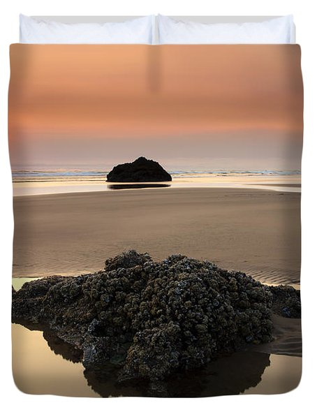 Hazy Oregon Sunset Duvet Cover by Mike  Dawson