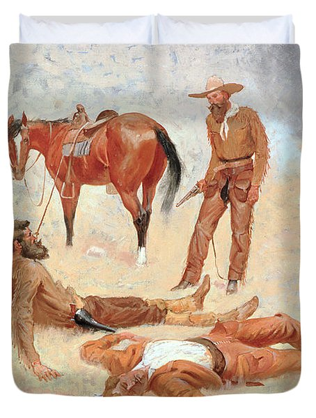He Lay Where He Had Been Jerked Still As A Log  Duvet Cover by Frederic Remington