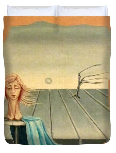 Head In Wind Surrealistic Frame Boards Tree And Hair Waving In Wind Beige Blue Grey Duvet Cover by Rachel Hershkovitz