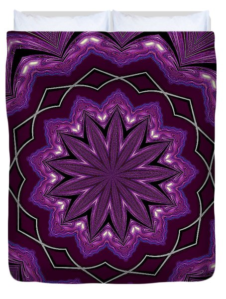 Duvet Cover featuring the digital art Heather And Lace by Alec Drake