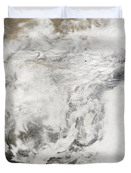Heavy Snowfall In China Duvet Cover by Stocktrek Images