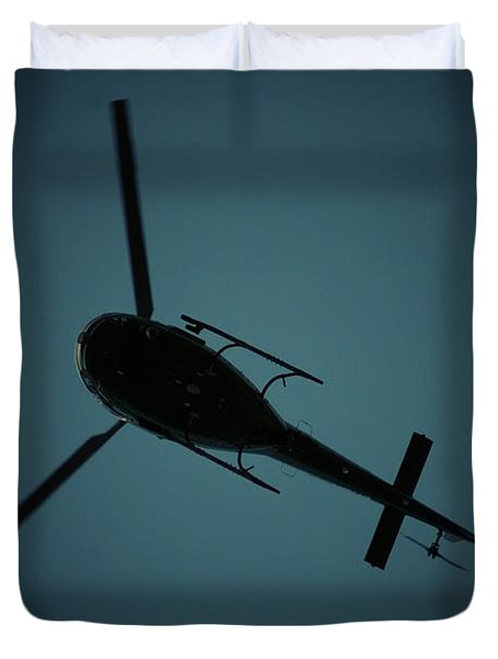 Helicopter Silhouette Duvet Cover