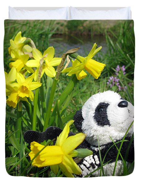 Hello Spring. Ginny From Travelling Pandas Series. Duvet Cover by Ausra Huntington nee Paulauskaite