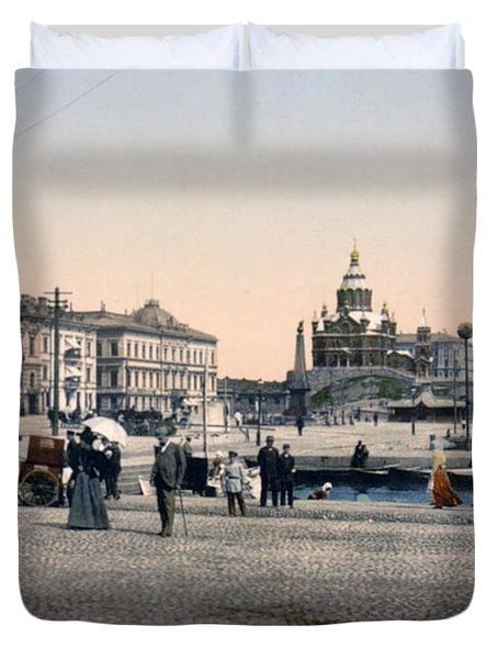 Helsinki Finland - Senate Square Duvet Cover by Bode Stevenson