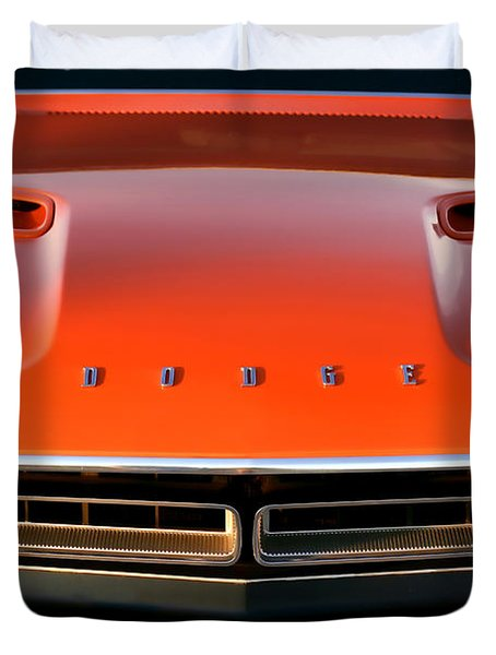 Hemi Orange 1971 Dodge Challenger Duvet Cover