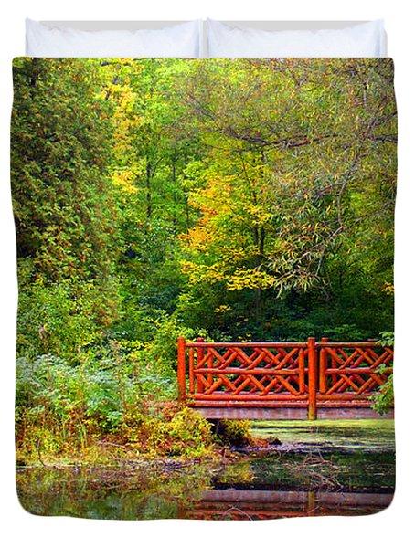 Henes Park Pond Bridge Duvet Cover