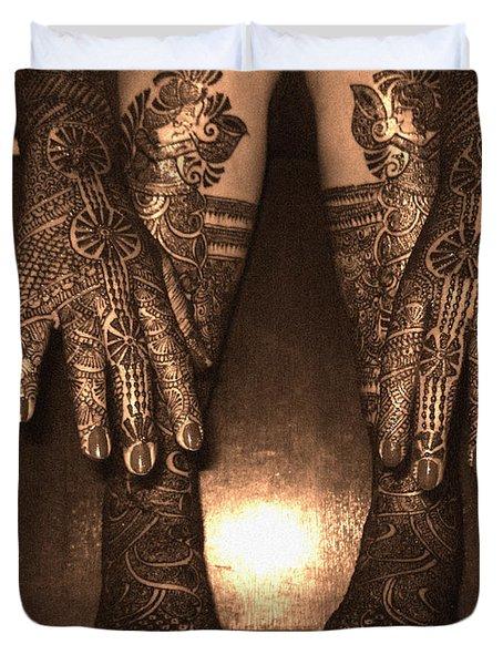 Henna Art On An Indian Bride Duvet Cover
