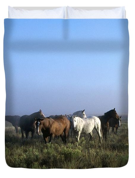Herd Of Horses And Cowboy On Horseback Duvet Cover by Natural Selection Craig Tuttle