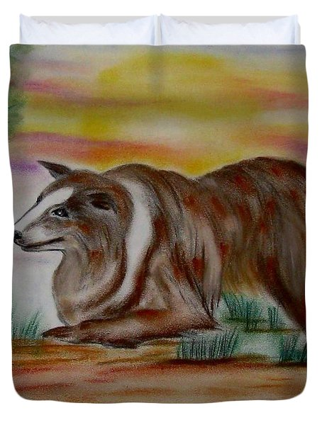 Duvet Cover featuring the drawing Herding Collie by Maria Urso