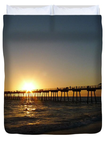 Duvet Cover featuring the photograph Hermosa Beach Sunset by Nina Prommer