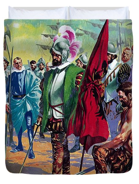 Hernando Cortes Arriving In Mexico In 1519 Duvet Cover by English School