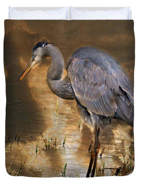 Heron Bronze Duvet Cover by Marty Koch