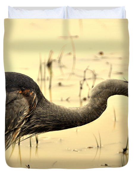 Heron Fishing Duvet Cover by Marty Koch