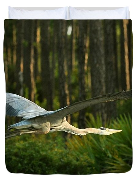 Duvet Cover featuring the photograph Heron In Flight by Rick Frost