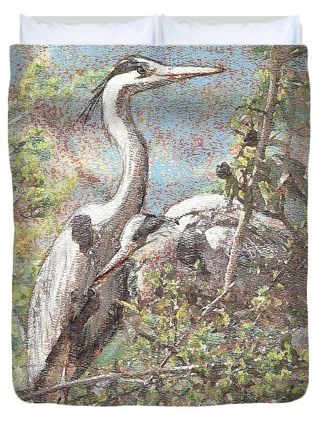 Herons Resting Duvet Cover