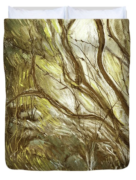 Hideaway Plants In Brown Yellow And Green Branches Leaves Trunks Stones Duvet Cover by Rachel Hershkovitz