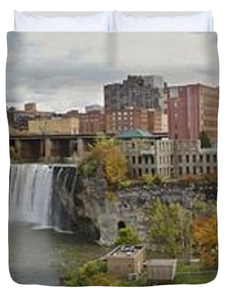 Duvet Cover featuring the photograph High Falls Panorama by William Norton