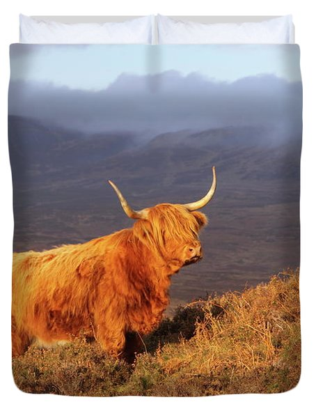 Highland Cattle Landscape Duvet Cover