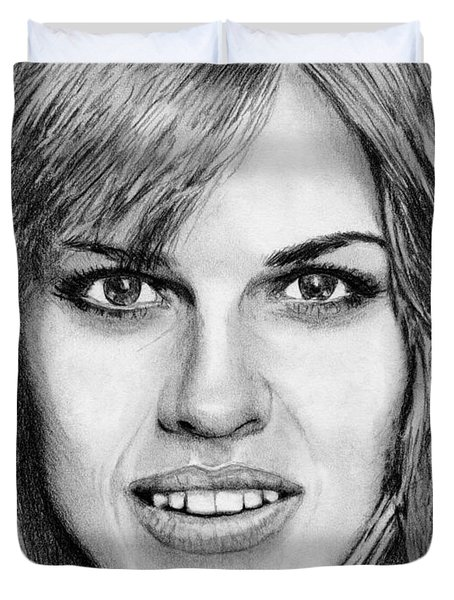 Duvet Cover featuring the drawing Hilary Swank In 2007 by J McCombie
