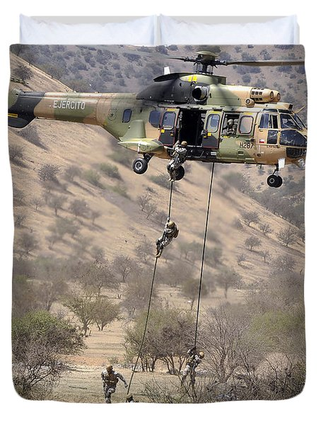 Hilean Special Forces Perform An Air Duvet Cover by Stocktrek Images
