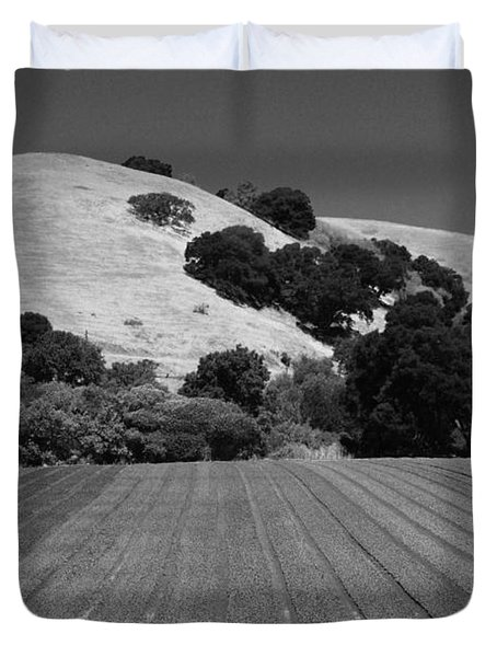 Duvet Cover featuring the photograph Hillside Farmland by Kathleen Grace