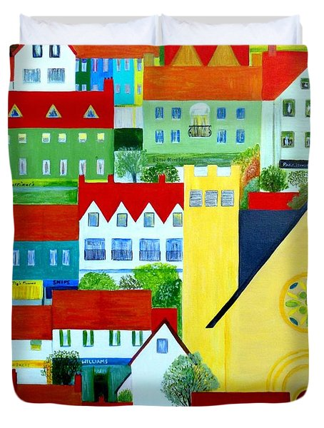 Duvet Cover featuring the painting Hillside Village by Barbara Moignard