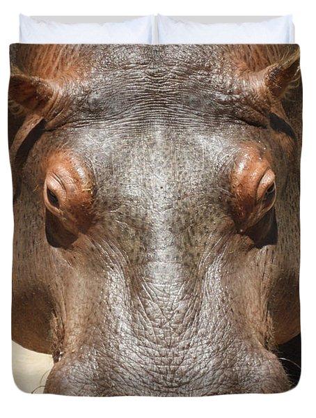 Hippopotamus Duvet Cover by Ernie Echols