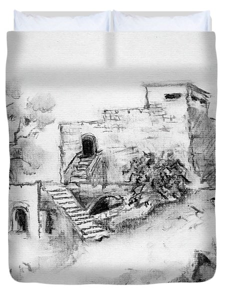 Hirbe Landscape In Afek Black And White Old Building Ruins Trees Bricks And Stairs Duvet Cover