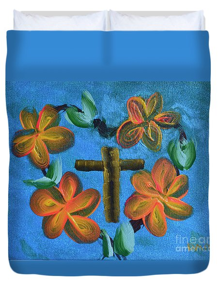 Duvet Cover featuring the painting His Love For Us by Donna Brown