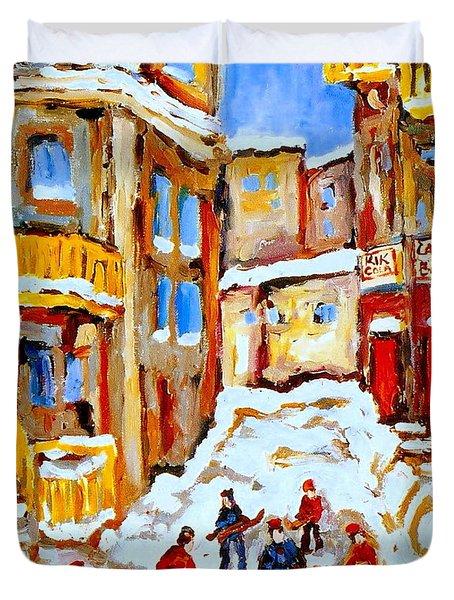 Hockey Art Montreal City Streets Boys Playing Hockey Duvet Cover by Carole Spandau