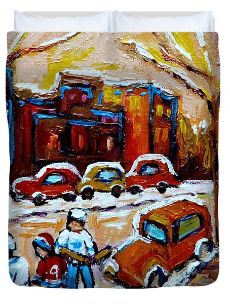 Hockey Art Montreal Staircases In Winter Duvet Cover by Carole Spandau