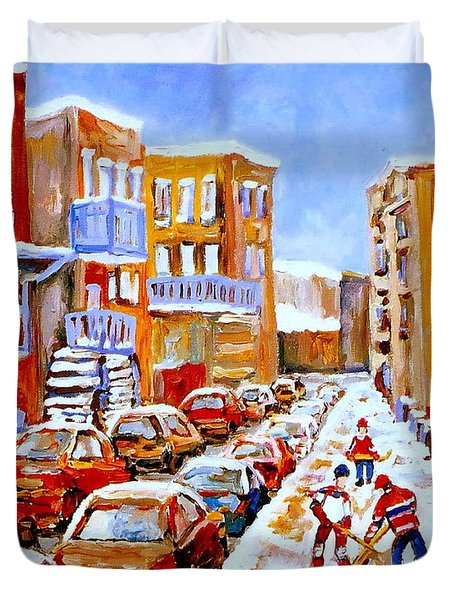 Hockey Art Streets Of Montreal Hockey Paintings Duvet Cover by Carole Spandau