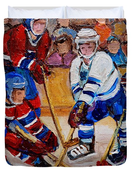 Hockey Game Scoring The Goal Duvet Cover by Carole Spandau