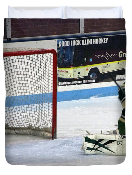 Hockey Nice Catch Duvet Cover by Thomas Woolworth