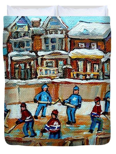Hockey Rink Montreal Street Scene Duvet Cover by Carole Spandau