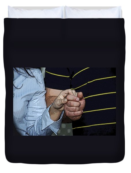 Duvet Cover featuring the photograph Holding Hands by Carolyn Marshall