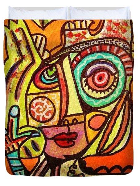 Hole In My Head - Yiddish Duvet Cover by Sandra Silberzweig