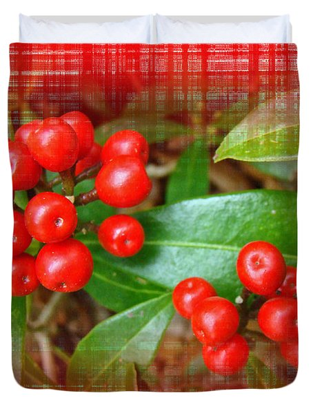 Holly Berries Duvet Cover by Mother Nature