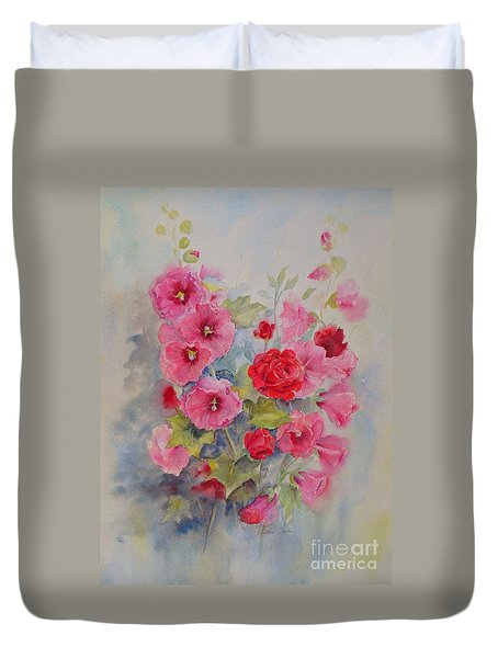Hollyhocks And Red Roses Duvet Cover
