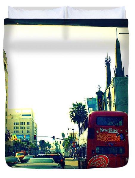 Hollywood Boulevard In La Duvet Cover by Susanne Van Hulst