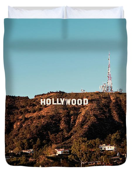 Hollywood Sign At Sunset Duvet Cover