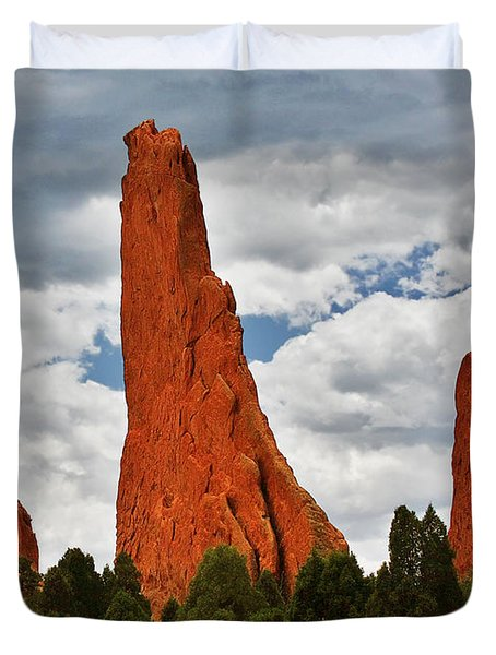 Home Of The Weather God - Garden Of The Gods - Colorado City Duvet Cover by Christine Till