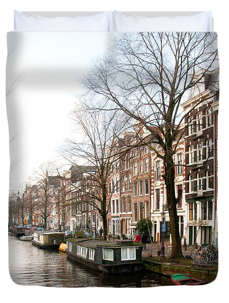 Duvet Cover featuring the digital art Homes Along The Canal In Amsterdam by Carol Ailles