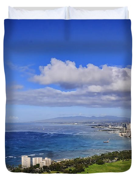 Honolulu From Diamond Head Duvet Cover