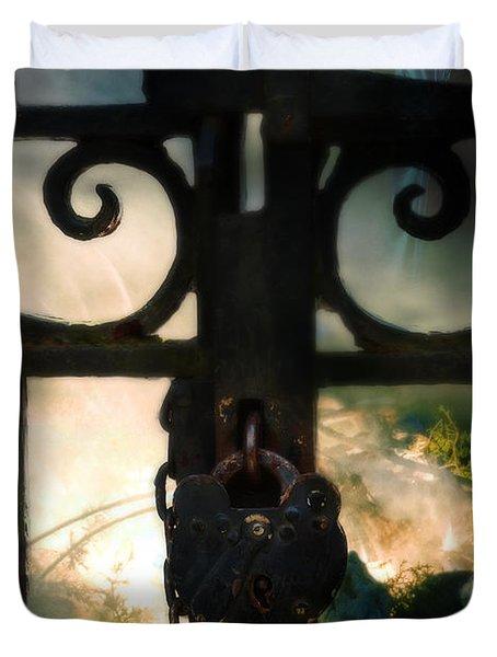 Hooded Figure By A Fire Duvet Cover by Jill Battaglia