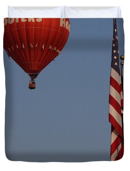 Duvet Cover featuring the photograph Hooters American Flag by Jerry Bunger