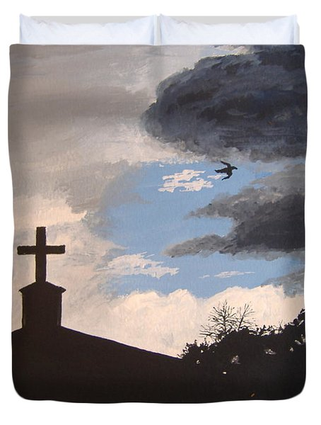 Duvet Cover featuring the painting Hope In The Storm by Norm Starks