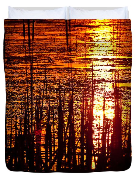Horicon Marsh Sunset Wisconsin Duvet Cover by Steve Gadomski