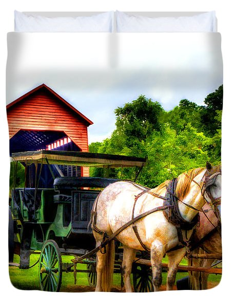 Horse And Buggy In Front Of Covered Bridge Duvet Cover by Dan Friend