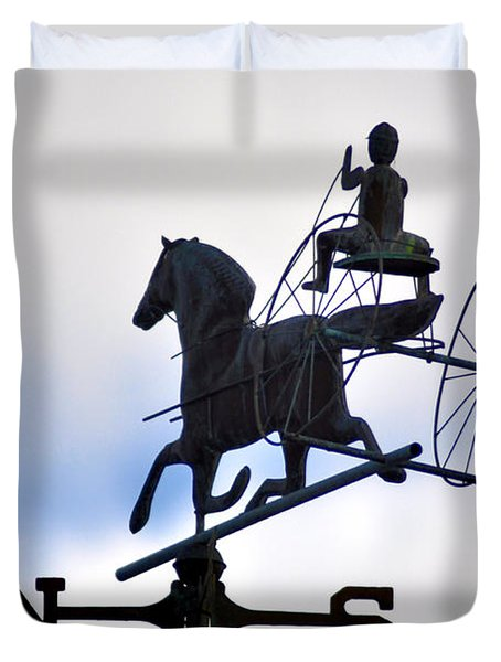 Horse And Buggy Weather Vane Duvet Cover by Bill Cannon